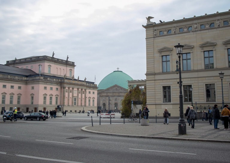 Bebelplatz, the state opera house and St. Hedwig's cathedral.