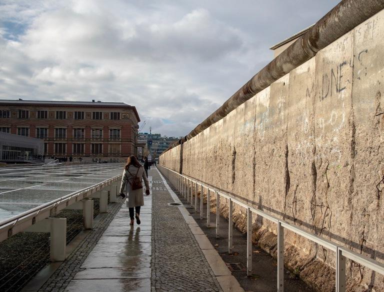 A long stretch of the Berlin Wall in Kreuzberg.